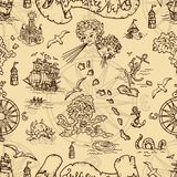 Seamless background with fantasy creatures and pirate treasure map elements stock illustration
