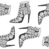 Seamless background with fantasy pattern shoes. Black and white women shoes with fantasy pattern Stock Images