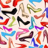 Seamless background of fashionable women's shoes Stock Photos