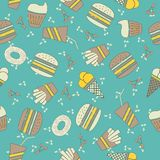 Seamless background with fast food stock illustration