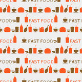 Seamless background of fast food icons Royalty Free Stock Image