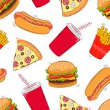 Seamless background of fast food. Fast food. Vector illustration.  Stock Photo