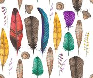 Seamless background with feathers. Watercolor. Royalty Free Stock Photos