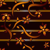 Mahogany Flower Background. A seamless background featuring mahogany and gold stripes with red and orange flowers Royalty Free Stock Image