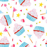 Seamless background with festive cupcakes. Seamless pattern with watercolor cupcakes with cream and decorations. Cute hand drawn background Stock Photos
