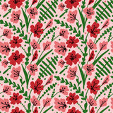 Seamless background with field flowers and herbs. Pattern with hand drawn poppy, grass and leaves. Vector floral texture. In red, pink and green colors Royalty Free Stock Photography