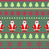Seamless background of the figures of Santa and Christmas trees. Royalty Free Stock Photo