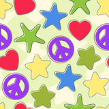 Seamless background of the figures of stars, pacifist, heart bright colors. Stock Photo