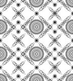 Seamless background with fine art deco patterns in black and white. Rhomboid composed seamless background with fine black and white art deco patterns Royalty Free Stock Photo