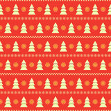 Seamless background with fir trees. Christmas seamless background with white fir trees and strips from snowflakes on red backdrop Royalty Free Stock Photo