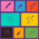 Seamless background with firework icons. For your design Royalty Free Stock Image