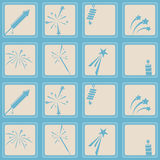 Seamless background with firework icons. For your design Stock Images