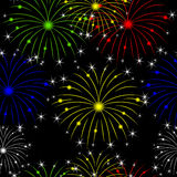 Seamless background with fireworks. Vector illustration Royalty Free Stock Photos