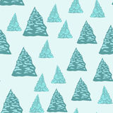 Seamless background, firtrees with snow. Vector illustration Stock Photo