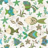 Seamless Background with Fish. Marine Seamless Abstract Background with Fish stock illustration