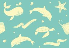 Seamless pattern with fish and marine life. Seamless background with fish and marine life Stock Image