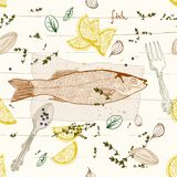 Seamless Background with fish dish. Seamless Background with fish taste dish Stock Images