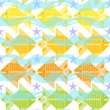 Seamless background with fish, wave and starfish. Royalty Free Stock Image