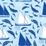 Seamless background with fishing boats and fish. Catch on blue, illustration with hand drawn elements Stock Image