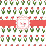 Seamless background with flat icons of red tulips. Vector floral seamless pattern. Seamless background with flat icons of red tulips. Linear flowers. Spring Stock Photo