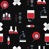Seamless background with flat objects on blood Stock Image