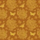Seamless background with floral and butterflies pattern. Vector illustration. Elegant vintage background with floral pattern and butterflies for wallpaper, gift Stock Photography