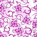 Seamless background with floral design. In purple color Stock Photography