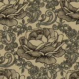Seamless background with floral ornament and roses. Vector illus Stock Photos
