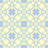 Seamless background with floral pattern. Beige background with light blue and green flower elements. For wallpapers, textile and fabrics Stock Photo