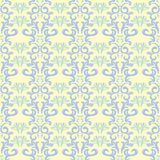 Seamless background with floral pattern. Beige background with light blue and green flower elements. For wallpapers, textile and fabrics Royalty Free Stock Images