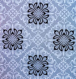Seamless background with flower and geometric designs. Seamless background with flower and geometric patterns in gray-blue tones Stock Image