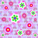Seamless background with flowers. On a background of hearts Stock Photography