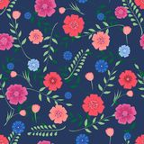 Seamless background with flowers and branches of leaves on a dark blue background . Vector illustration Royalty Free Stock Image