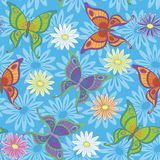 Seamless background, flowers and butterflies Stock Images