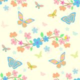Background with flowers and butterflies Royalty Free Stock Photos