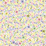 Seamless background with flowers and butterflies. Cute minimalistic bright seamless pattern with little flowers and butterflies on a white background. Vector Stock Photo