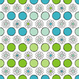 Seamless background flowers and circle. Elegance seamless flowers pattern in blue and green, vector illustration vector illustration