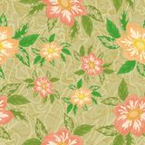 Seamless background with flowers dahlia Stock Photo
