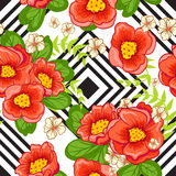 Seamless background with flowers and geometric elements. Royalty Free Stock Photos