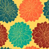 Seamless background with flowers. Hand-drawn contour lines and strokes. Royalty Free Stock Image