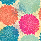 Seamless background with flowers. Hand-drawn contour lines and strokes. Royalty Free Stock Photos