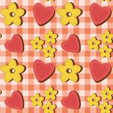 Seamless background with flowers and hearts Stock Image