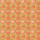 Seamless background with flowers and hearts Royalty Free Stock Photography