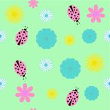 Background with flowers and ladybird Royalty Free Stock Photo
