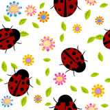 Seamless background with flowers and ladybirds Royalty Free Stock Images