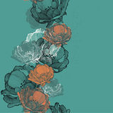 Seamless background with flowers rosehip hand-drawing. Vector il Stock Images