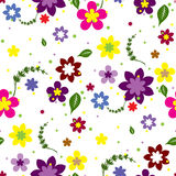 Seamless background with flowers. White seamless background with flowers and leaves stock illustration