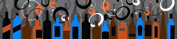 Seamless background food and liquor bottles vector illustration