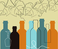 Seamless background food and liquor bottles Stock Photo