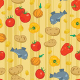 Seamless background with food. Vector illustration Stock Photography